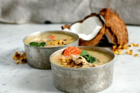 Sopa de quinoa y coco