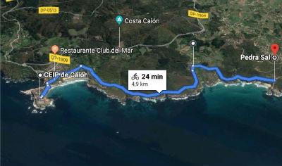 Ruta en bicicleta zona de Caion